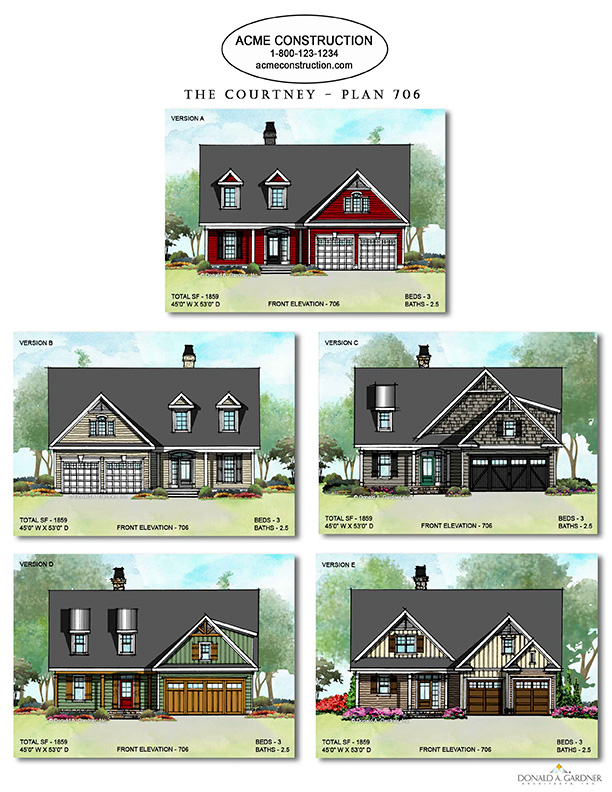 House Plans with Multiple Elevation - The Courtney