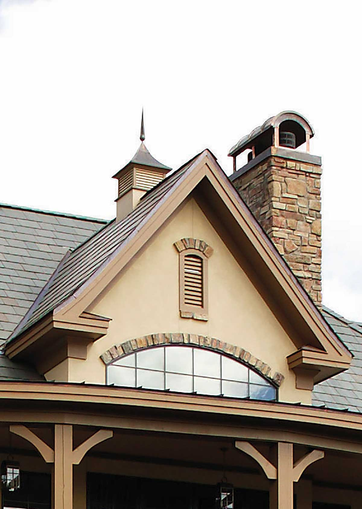 Stone chimney from the Hollowcrest - House Plan 5019
