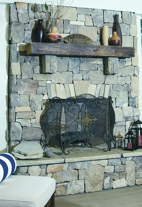 Stone fireplace from house plan 1191 - The Genova