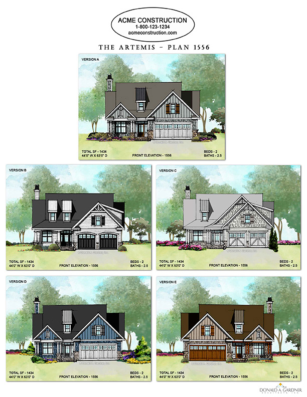 Mulitple Elevations of Home Plan 1556 - The Artemis