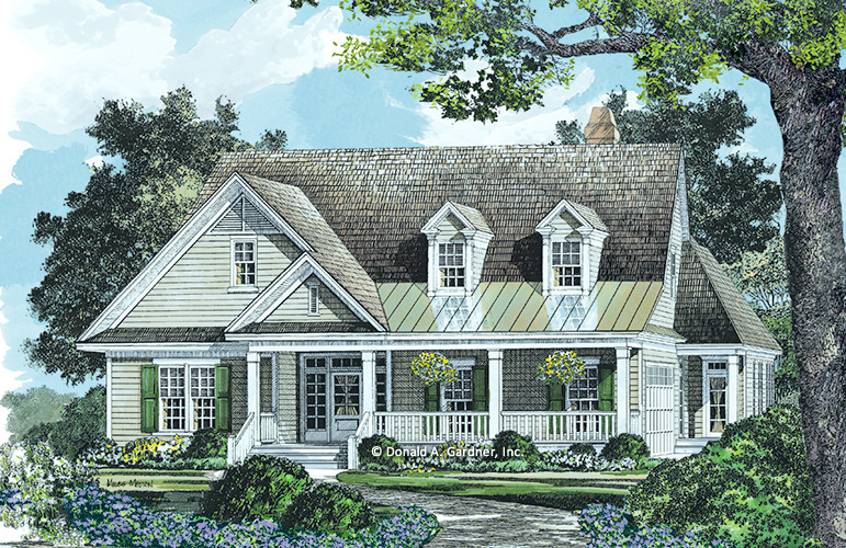 Low country house plans with detached garage for Low country house