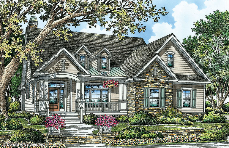 Front Color & Home Plan The Atwood by Donald A. Gardner Architects