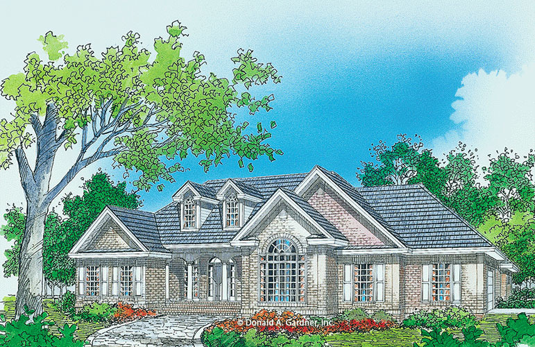 Traditional Brick Hip Roof Home Plan 3 Bedroom Ranch Plan