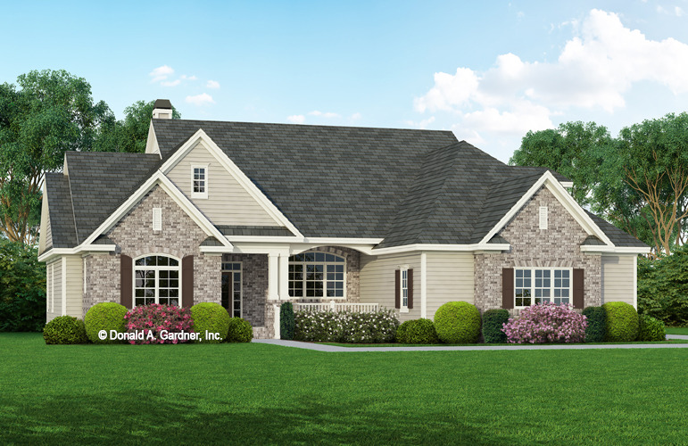 House plan the gladstone by donald a gardner architects for Brick ranch house plans basement